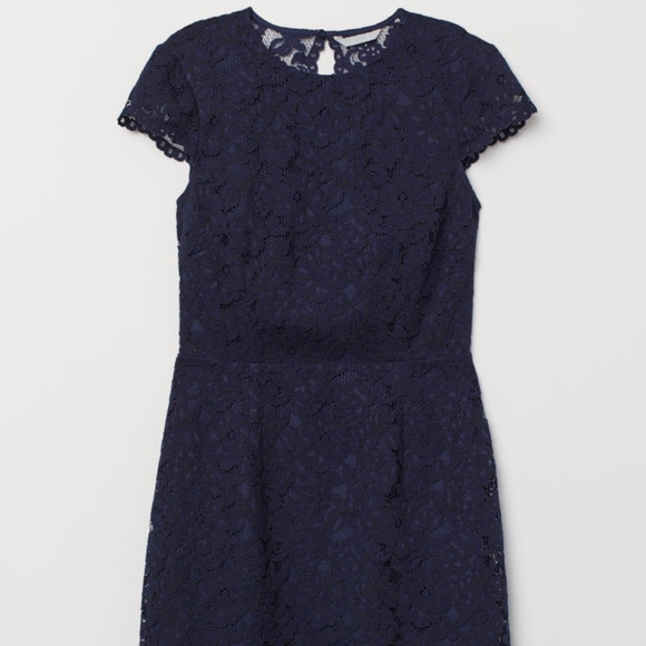 Dark Navy Lace Dress Open Back